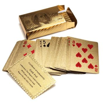 Gold Foil Playing Cards w/ 52 Cards & 2 Jokers