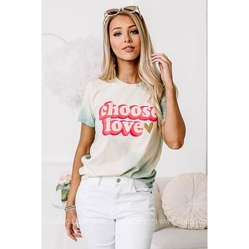 Choose Love Vintage Print Bleached Graphic Tee