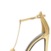 Anne Michelle Bristol 01 Gold Lizard T Strap High Heel Sandals