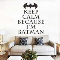 Batman CALM KEEP living room in the bedroom with a waterproof removable Stickers (Size: 50cm by 42cm, Color: Black)