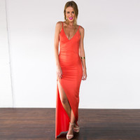 Strappy V- Neck Back Cowl Ruched Maxi Dress with Slit