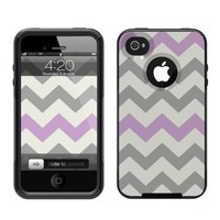 iPhone 4 /4S Case [Black] Chevron Grey Lavender [Dual Layer] UnnitoTM *1 Year Warranty* Case Protective [Custom] Commuter Protection Cover [Hybrid]