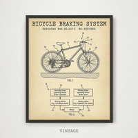 Bicycle Print, Bicycle Braking System Patent Wall Art, Printable Blueprint Art, Bike Print, Bicycle Poster, Digital Download, Bicycle Print