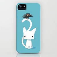 Cat and Raven iPhone & iPod Case by Freeminds
