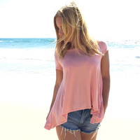 Split Down The Middle Jersey Tee In Desert Rose