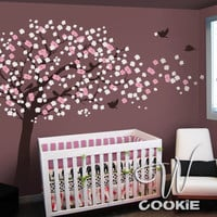 Cherry Blossom Tree with Birds Nursery Wall Decal by wcookie
