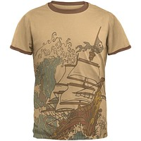 Pirate Ship Wave Mens Ringer T Shirt