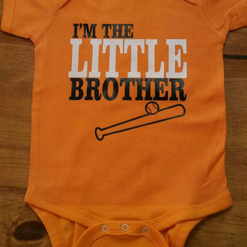 """Custom Bodysuit """" I'm the LITTLE Brother"""" with mascot or Number on the back!"""