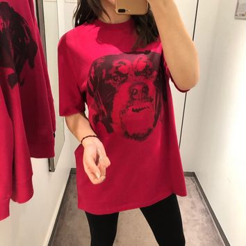 """""""Givenchy"""" Unisex Classic Dog Head Pattern Couple Short Sleeve Cotton T-shirt Top Tee"""