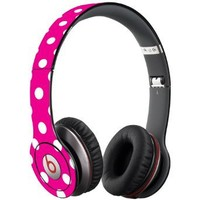 White Polka Dot on Hot Pink Decal Skin for Beats Solo HD Headphones by Dr. Dre