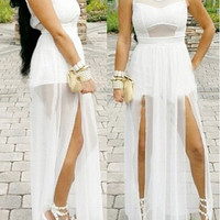 White Sheer Mesh Double Slit Maxi Dress