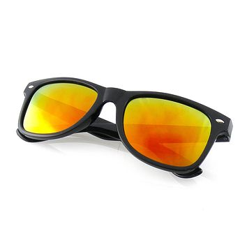 Emblem Eyewear - Black Flash Reflective Polarized Horned Rim Sunglasses