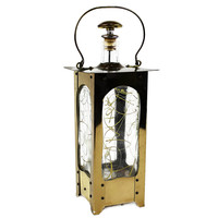 Brass and Glass Lantern Music Decanter, Plays 'How Dry Am I?'