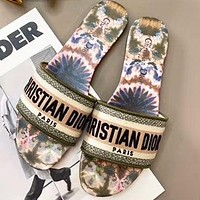 DIOR Popular Women Casual Jacquard Embroidery Flat Slippers Sandals Shoes