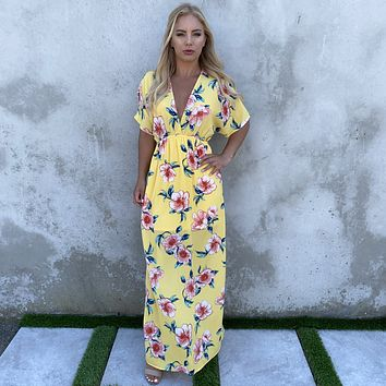Gift Of Love Floral Print Maxi Dress in Yellow