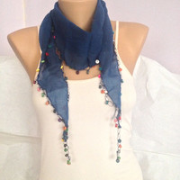 Blue Scarf  - Blue scarflette With Beads - Neckwrap
