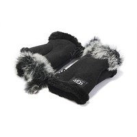 UGG Winter Popular Women Gloves Warm Mittens Velvet Fur Gloves Black I/A