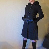 Fitted Princess Coat. Fur Hood & Cuffs.  Pewter Buttons.  Black Wool. Size S.