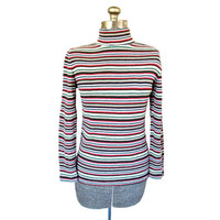 Vintage 1960s Multi Colored Aileen Striped Zippered Knit Turtleneck (Size Medium)