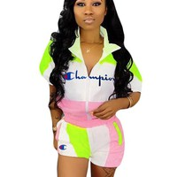 Champion Fashion New Embroidery Letter Short Sleeve Top And Shorts Two Piece Suit 1#
