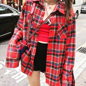 """""""Chrome Hearts"""" Women Casual Personality Back Stitching Leather Cross Pattern Cardigan Long Sleeve Multicolor Tartan Shirt Tops"""