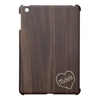 Dark Chocholate Faux Wood Pattern with engraving iPad Mini Case from Zazzle.com