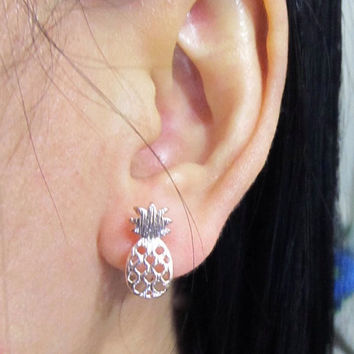 Rose Gold Plated Pineapple invisible clip on earring, C25s, simple Non pierced earring, clip on stud earring, magnetic earring alternative