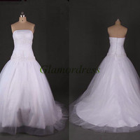 elegant white tulle satin wedding gowns fantasy wedding dresses with flowing train strapless bridal dress with swarovski crystals