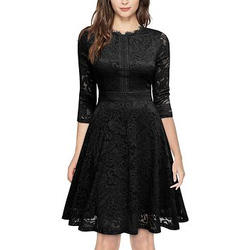 Retro Inspired Bell Sleeve Lace Cocktail Dress, US Sizes 0 - 20  (Black Dress)