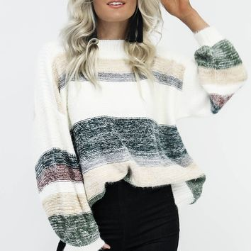 My Word Fuzzy Multi Stripe Sweater