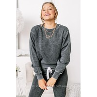 Calm & Collective Basic Cropped Sweatshirt | Charcoal