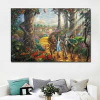 Kid's Room Decor Art The Wizard of Oz Thomas Follow the Yellow Brick Road Landscape Painting Wall Art Prints Poster On Canvas