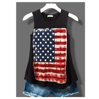"""Patriotic Me"" Rustic Flag Sleeveless Black Top"