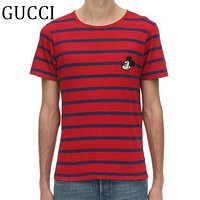 GUCCI Summer Fashion Men Women Stripe Mickey Mouse Embroidery Cotton T-Shirt Top