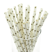 Star Paper Straws, 7-3/4-inch, 25-Piece, Willow/White
