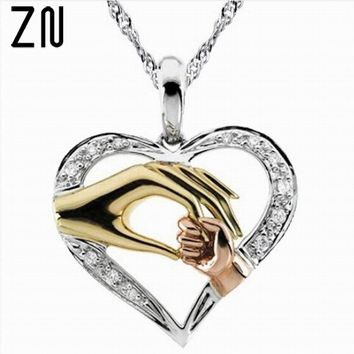 ZN Mother and Child Hand In Hand Pendant Necklace Gift for Mother Daughter Sister Grandmother Friends Jewelry