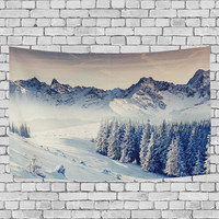 Snowflake Forest Mountain Tapestry Wall Hanging Winter Landscape Wall Decor Art