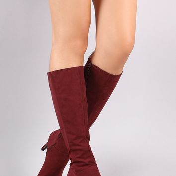 Bamboo Pointy Toe Kitten Heeled Knee High Boots
