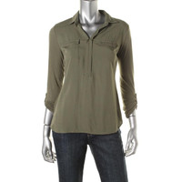 Style & Co. Womens Petites Modal Blend Adjustable Sleeves Henley Top