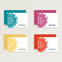 Bright Floral 4 Bar Printable Thank You Card in Four Colors (White Background) / Floral Stationery