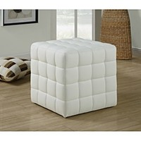 White Leather-Look Ottoman - 14354961 - Overstock.com Shopping - Great Deals on Monarch Ottomans