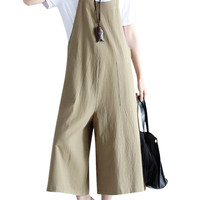 Casual Women Loose Solid Strap Pocket Overall Jumpsuits