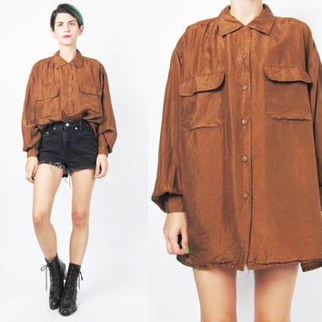 Vintage 80s 90s Silk Shirt Brown Silk Blouse Long Sleeve Silk Shirt Womens Silk Shirt Chocolate Brown Collared Button Up Chest Pockets (L)