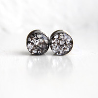 """Silver Glitter Ear Plugs, Sparkly Silver Ear Gauges, Resin Gauges, Plugs for Women - sizes 0g, 00g, 7/16, 1/2, 9/16, 5/8, 3/4, 7/8, 1"""""""