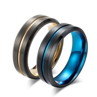 2018 New Titanium Matte Black Mens Ring Double Color Ring Blue/Gold Color Thin Line Ring Wedding Band Male Alliance Jewelry 8mm