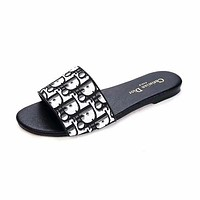 Dior LOGO Letter Sandals Flat-soled Slippers-2