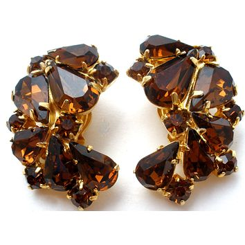 Weiss Brown Topaz Rhinestone Earrings Vintage