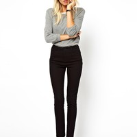 ASOS High Waist Pants in Cotton Twill - Black