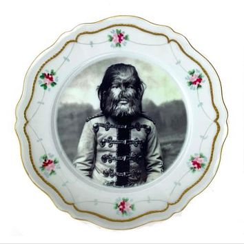 Antique Altered Plate Jo Jo The Dog
