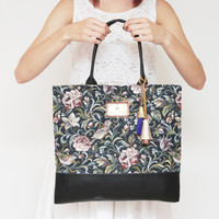 ROMANCE 2 / Soft leather & floral tapestry daily tote with leather tassels - Ready to Ship